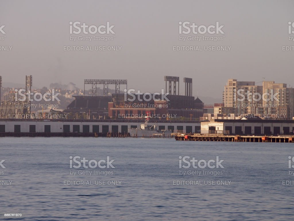 AT&T Park - Home of the Giants seen from the bay stock photo