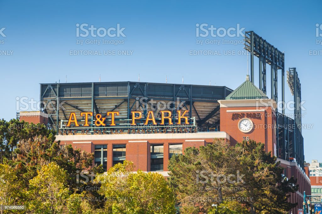 AT&T Park, home of the San Francisco Giants, on a beautiful sunny day with blue sky in summer, San Francisco, California, USA stock photo