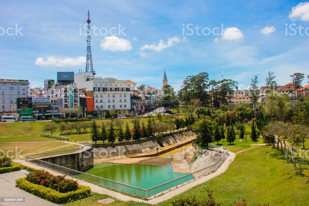 Park in Dalat city centre, Vietnam stock photo