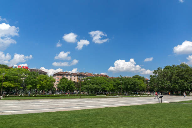 park in front of  national palace of culture in sofia, bulgaria - conferences stock photos and pictures