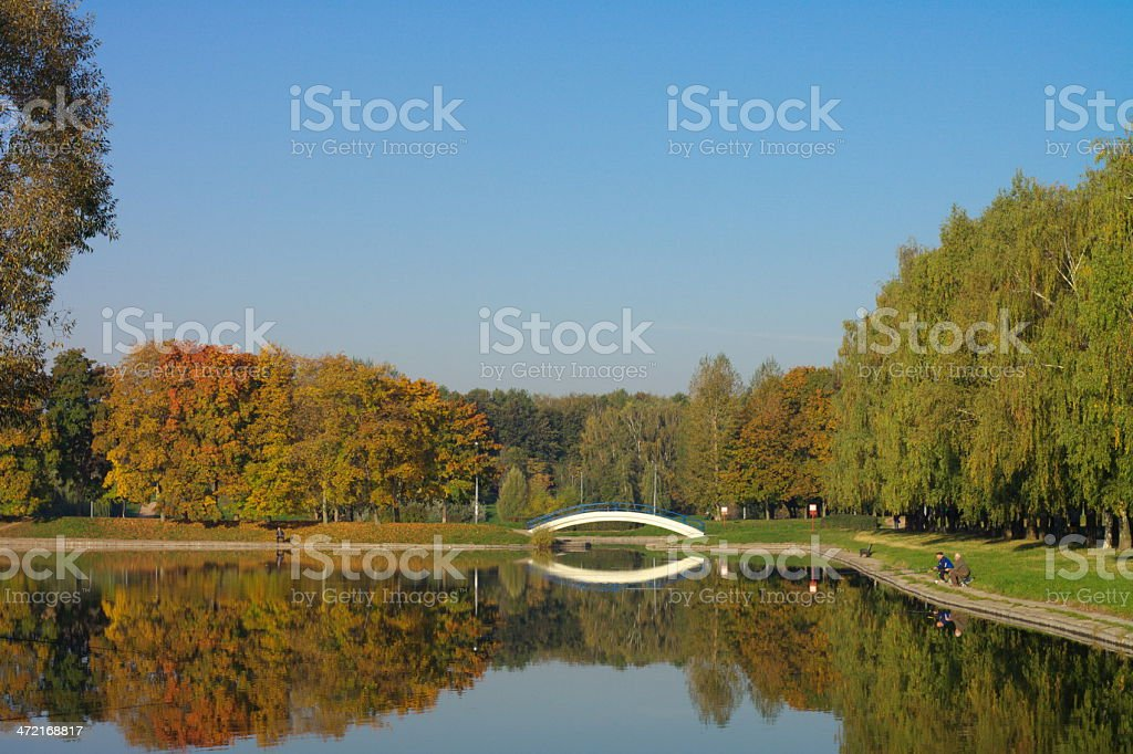 park in gold fall royalty-free stock photo