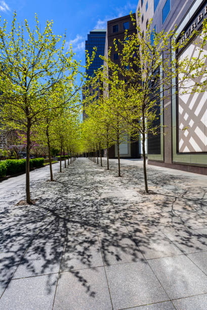 Park in Lower Manhattan rund um Das Word Trade Center an einem Frühlingstag – Foto
