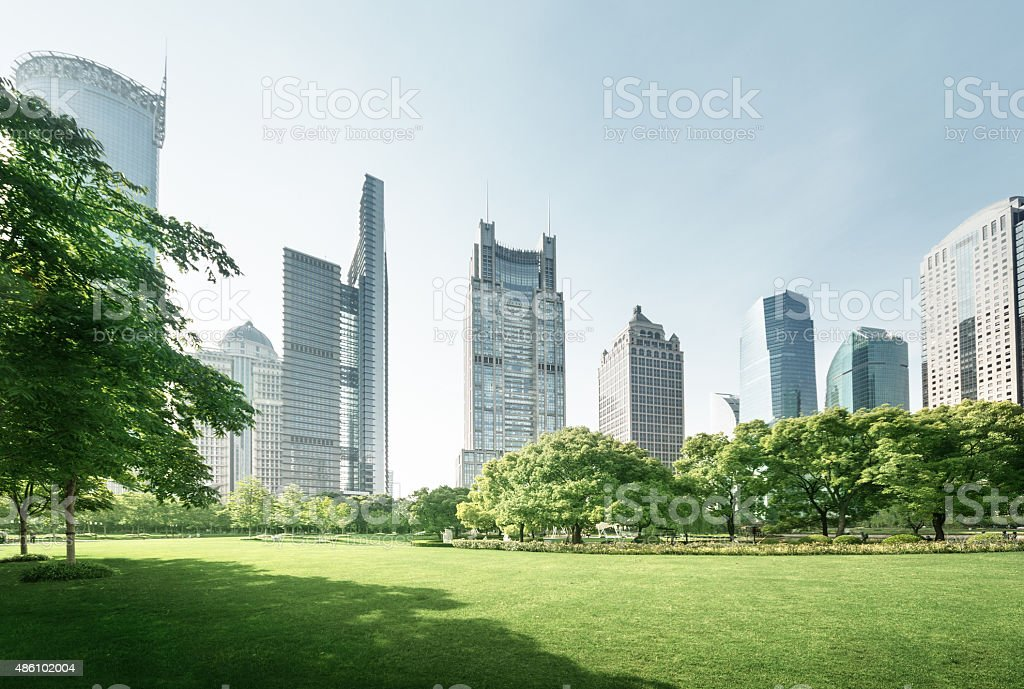 park in lujiazui financial center, Shanghai, China stock photo