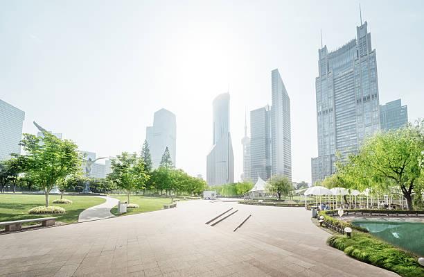 公園、陸家嘴金融中心(中国、上海) ストックフォト