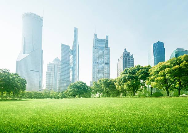 公園、陸家嘴金融中心(中国、上海) - 緑 ビル ストックフォトと画像