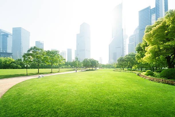 공원의 루쟈쭈이 금융 센터, shanghai, china - 타운 스퀘어 뉴스 사진 이미지