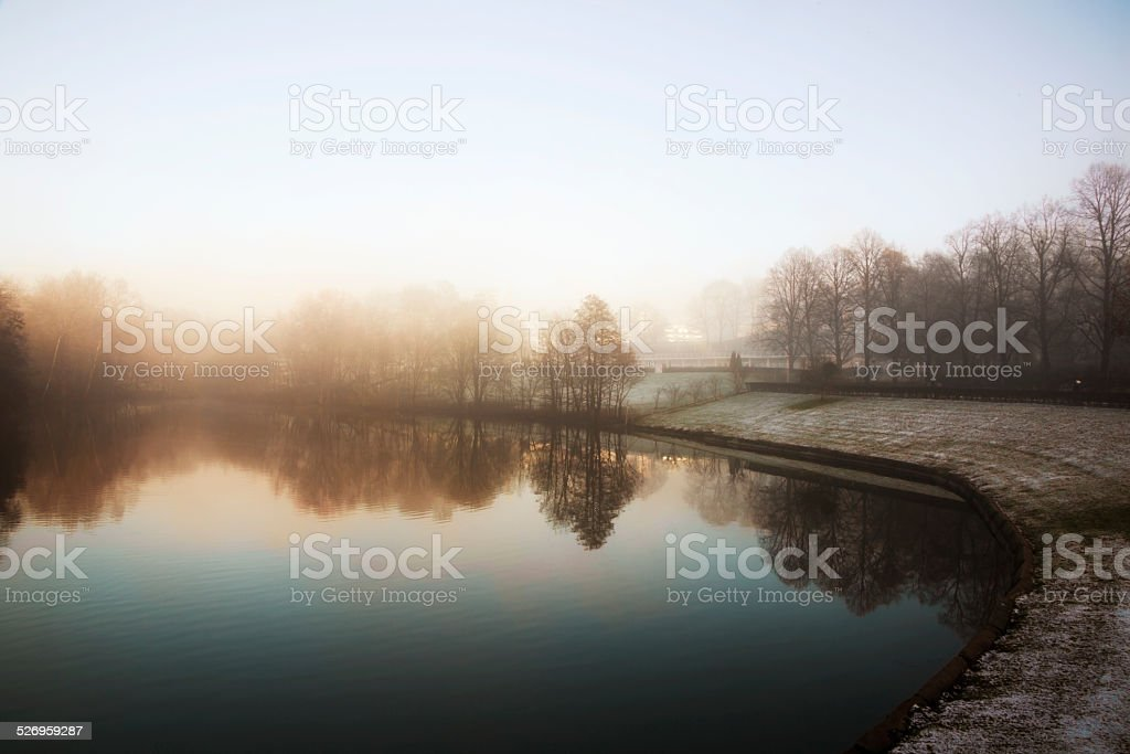 Park in Oslo on foggy day. stock photo