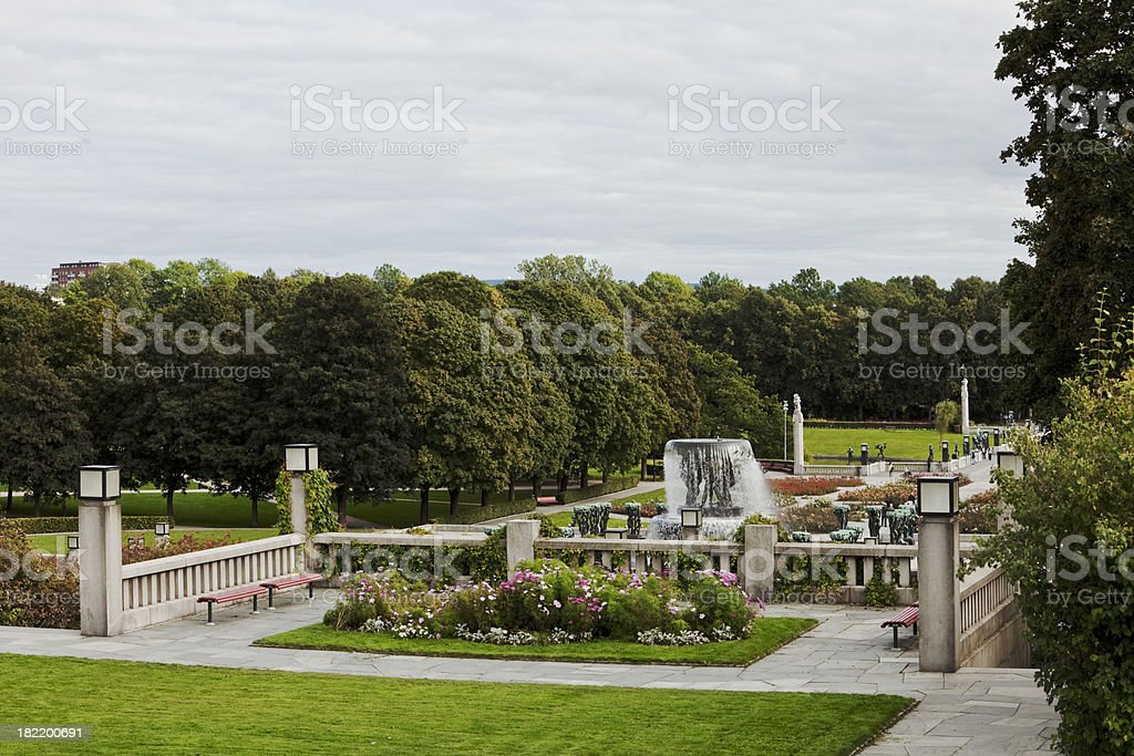 Park in Oslo with fountain and roses.. stock photo