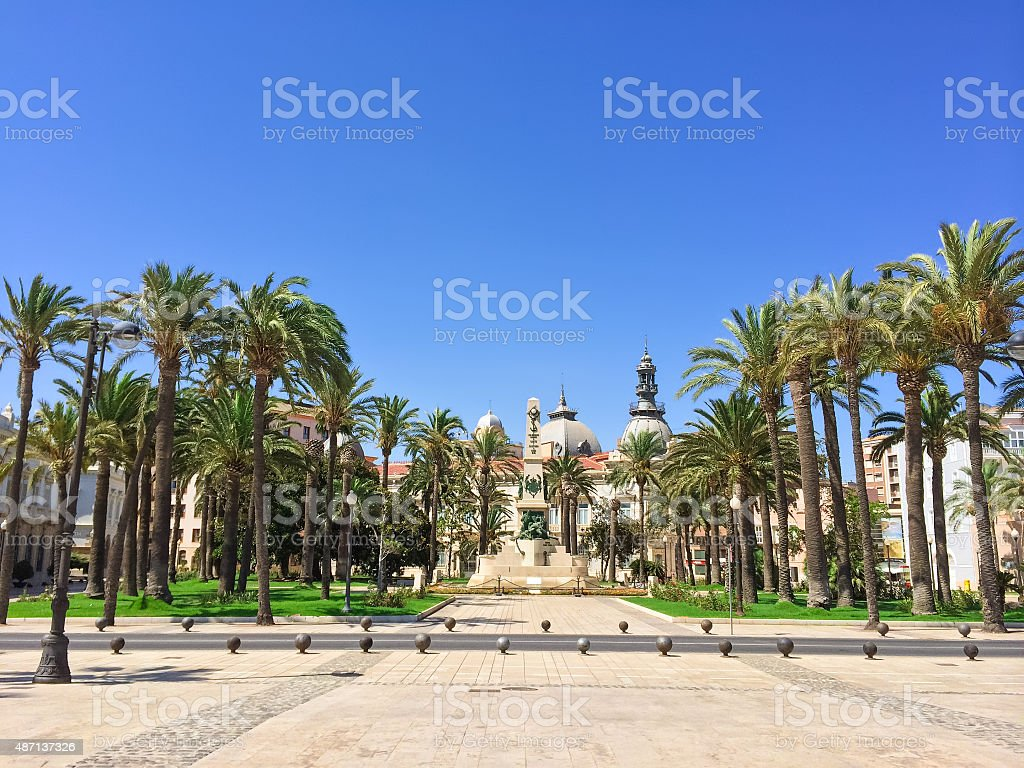 Park in the center of Cartagena in Spain stock photo