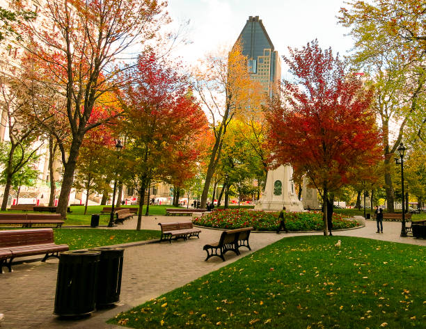 A park in the city of Montreal, Quebec, Canada stock photo