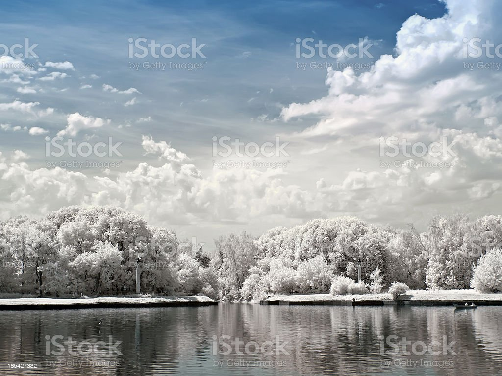 Park Kuskovo. Large Palace pond royalty-free stock photo