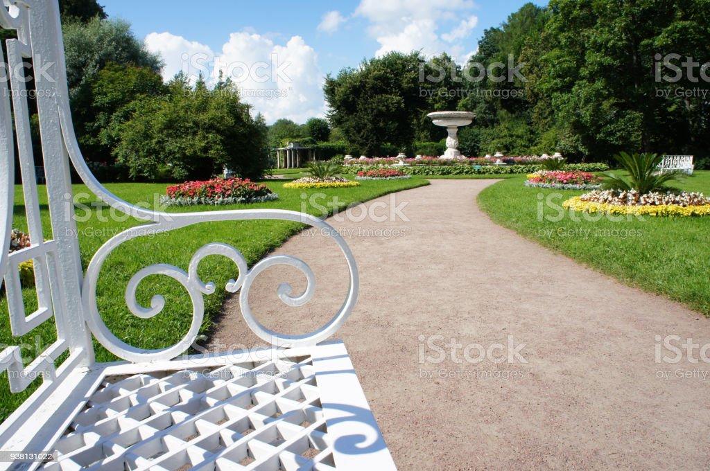 Park landscape at Pushkin, Tsarskoe Selo Saint-Petersburg, Russia stock photo