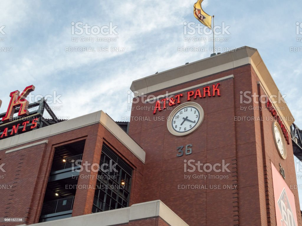AT&T Park logo and clock before an evening game stock photo