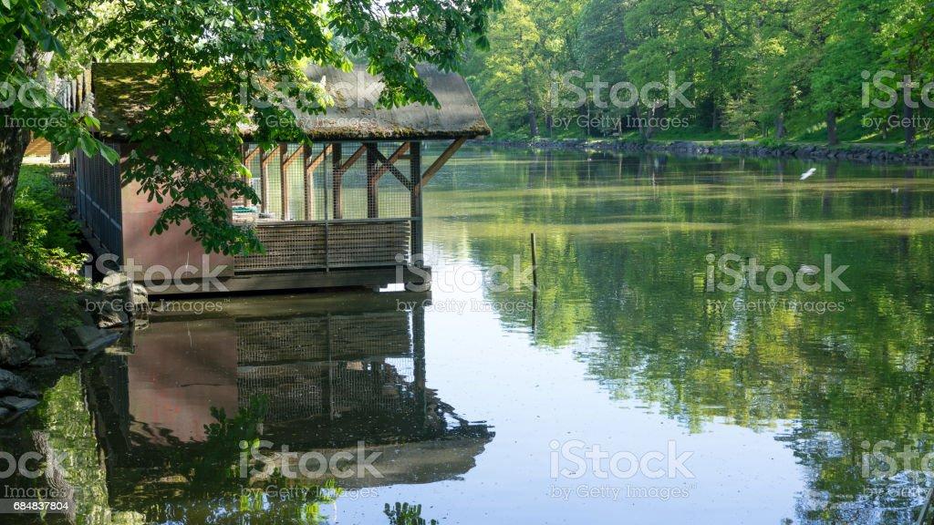 Park mit See stock photo