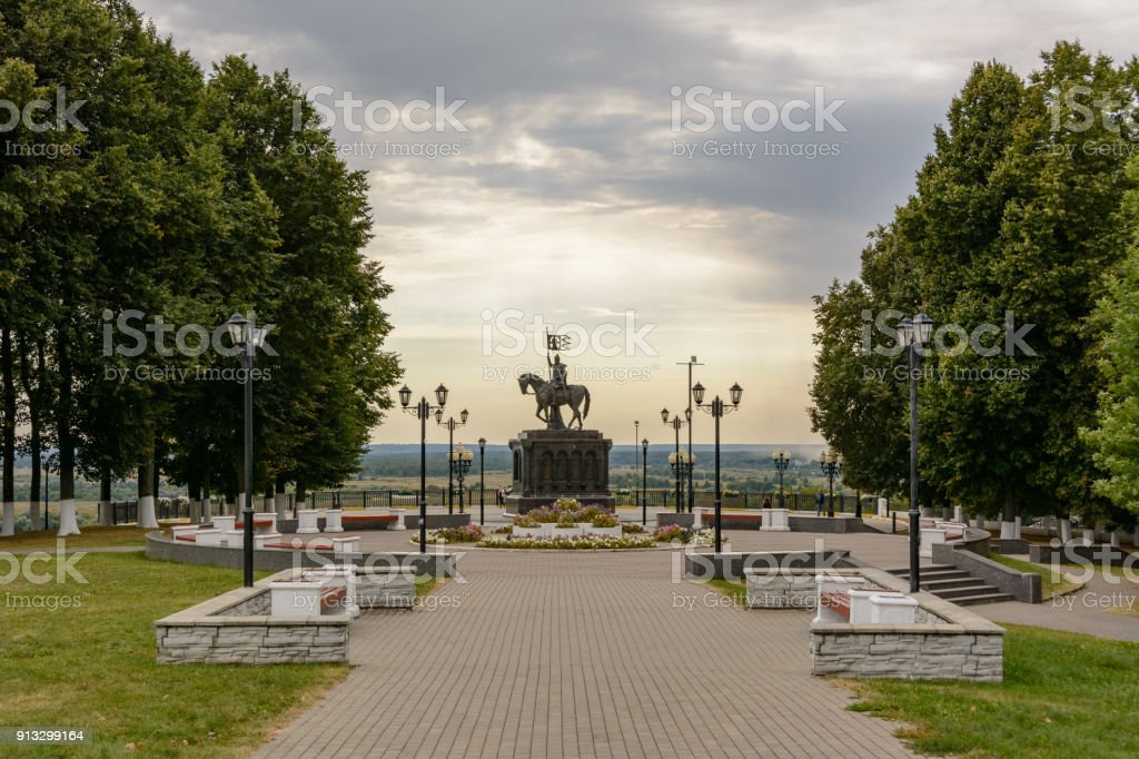 Park near the Assumption Cathedral in Vladimir, Russia stock photo