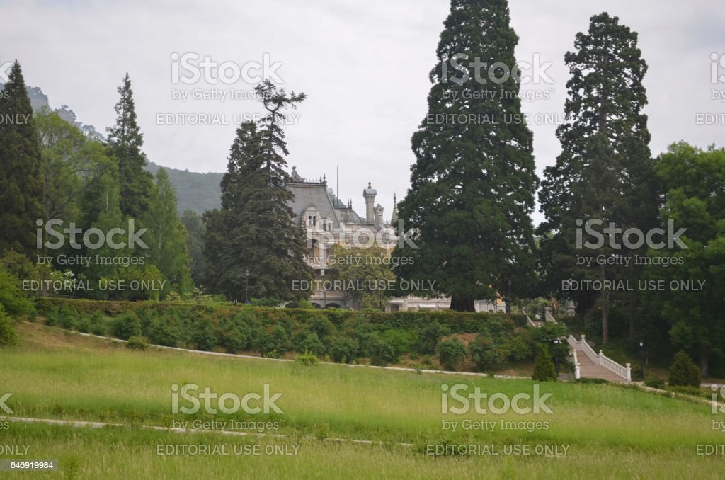 Park near the Massandra palace of Emperor Alexander III stock photo