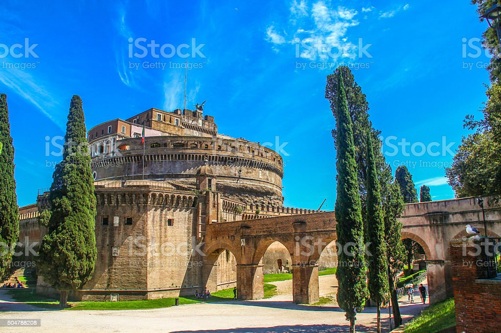 Park of Castel Sant' Angelo, Rome stock photo