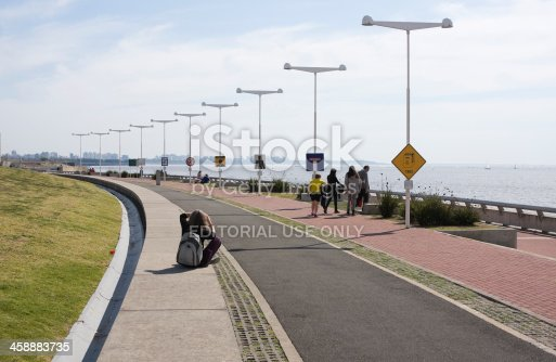 Buenos Aires, Argentina - August 19, 2013: A group of people walking and enjoying the outdoors at the
