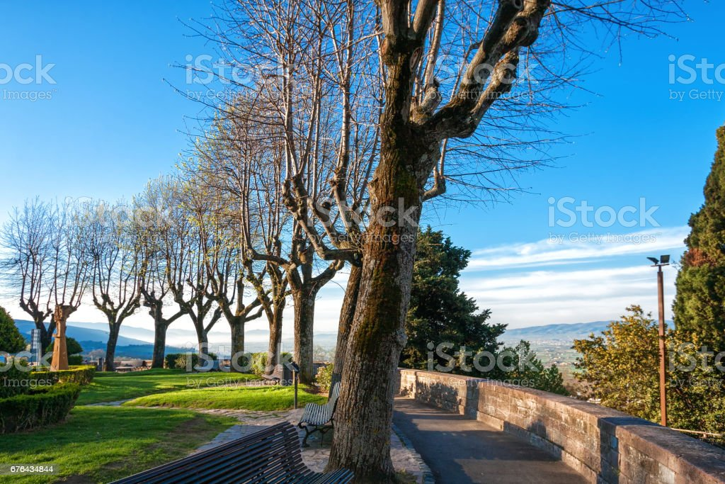 Park on a hill in Assisi stock photo