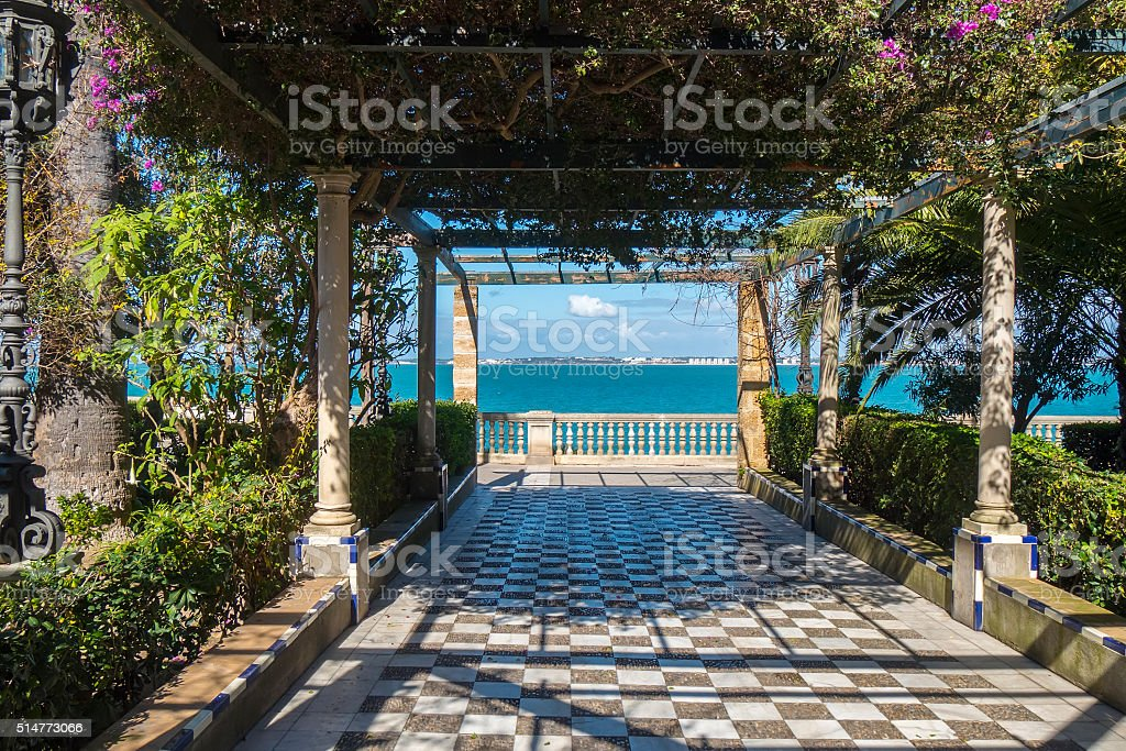 Park on the boardwalk of Cadiz, Genoves Park, Andalusia, Spain stock photo