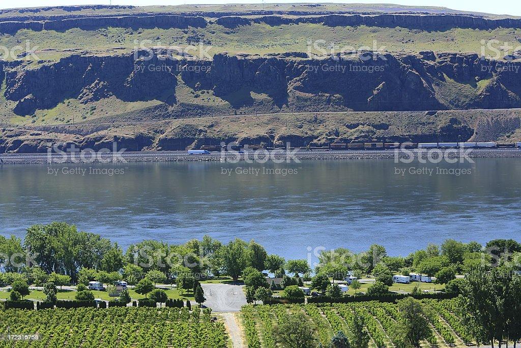 RV Park On The Columbia River Washington royalty-free stock photo