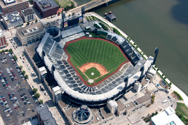 PNC Park Aerial view of PNC Park Pittsburgh Pa photograph taken August 2012 major league baseball stock pictures, royalty-free photos & images