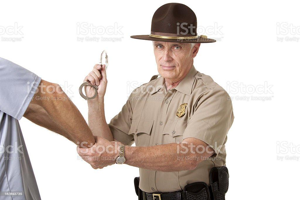 Park Ranger making an arrest stock photo