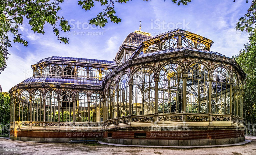 parque retiro palacio de cristal palace madrid spain park hdr stock photo