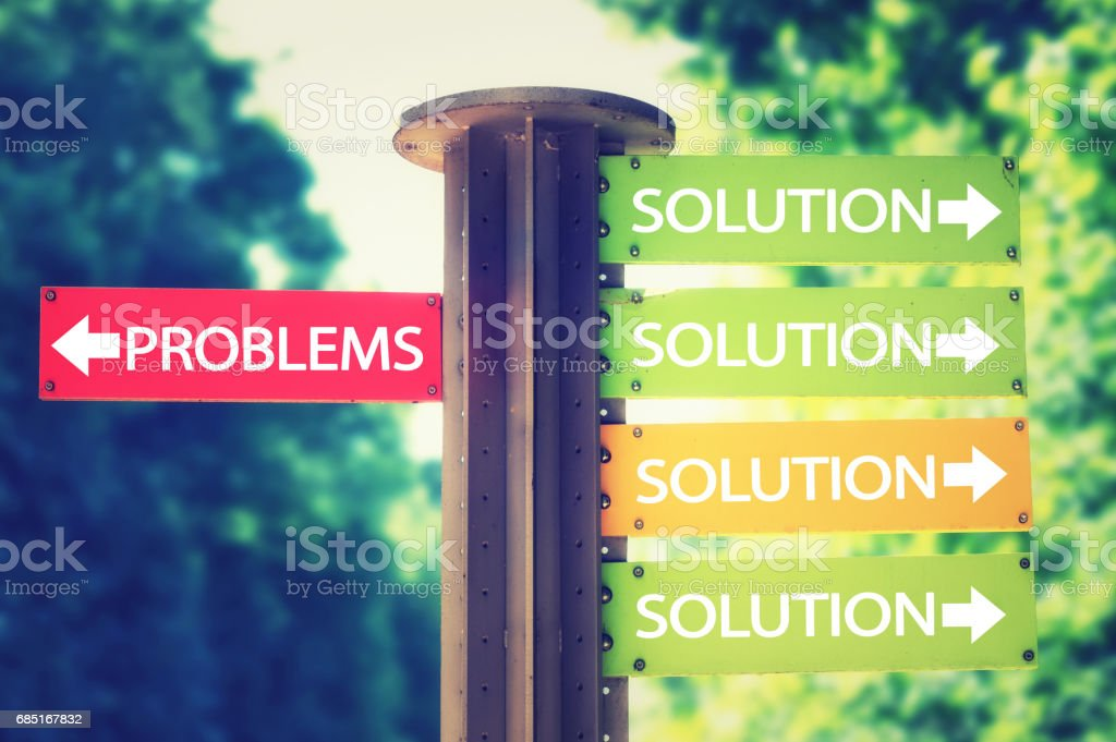 park signboard with solution and problems arrows pointing in different directions royalty-free stock photo