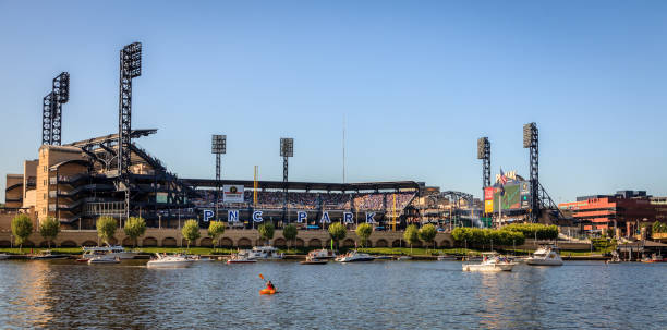 PNC Park Stadium pittsburgh, Pennsylvania, May 23, 2015: Riverside view of PNC Park baseball stadium - home of the Pittsburgh Pirates major league baseball stock pictures, royalty-free photos & images