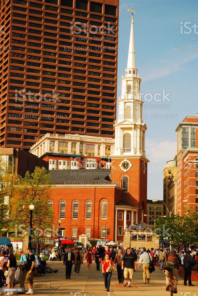 Park Street Church, Bostion stock photo