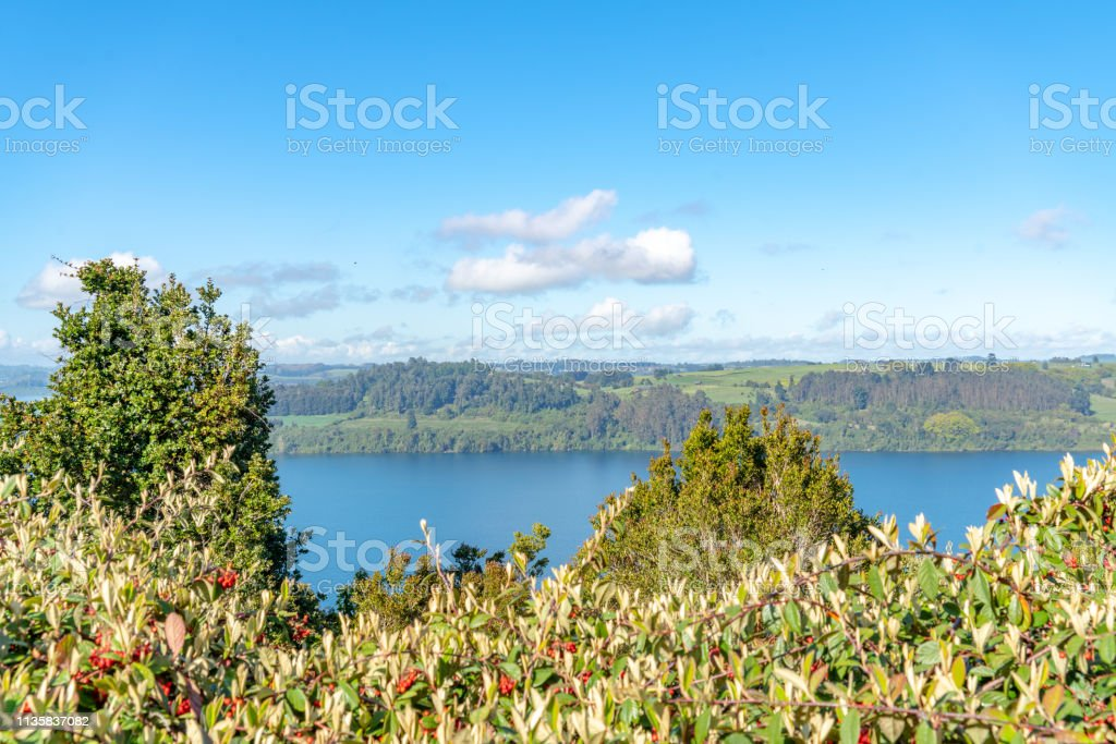 A Park View in the Morning at Chilean Lake District, Chile. stock photo