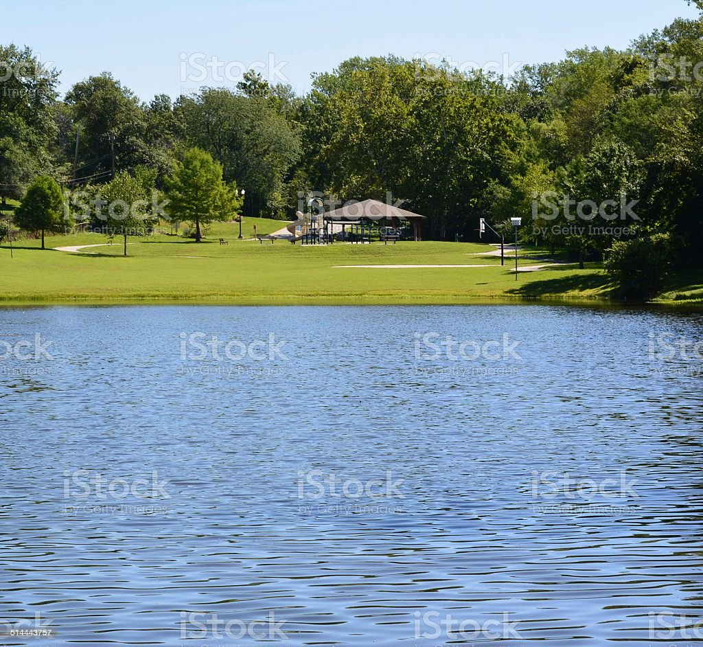 Park with a lake stock photo