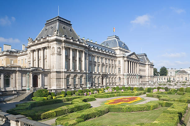 Park with Belgian Royal palace in Brussels stock photo