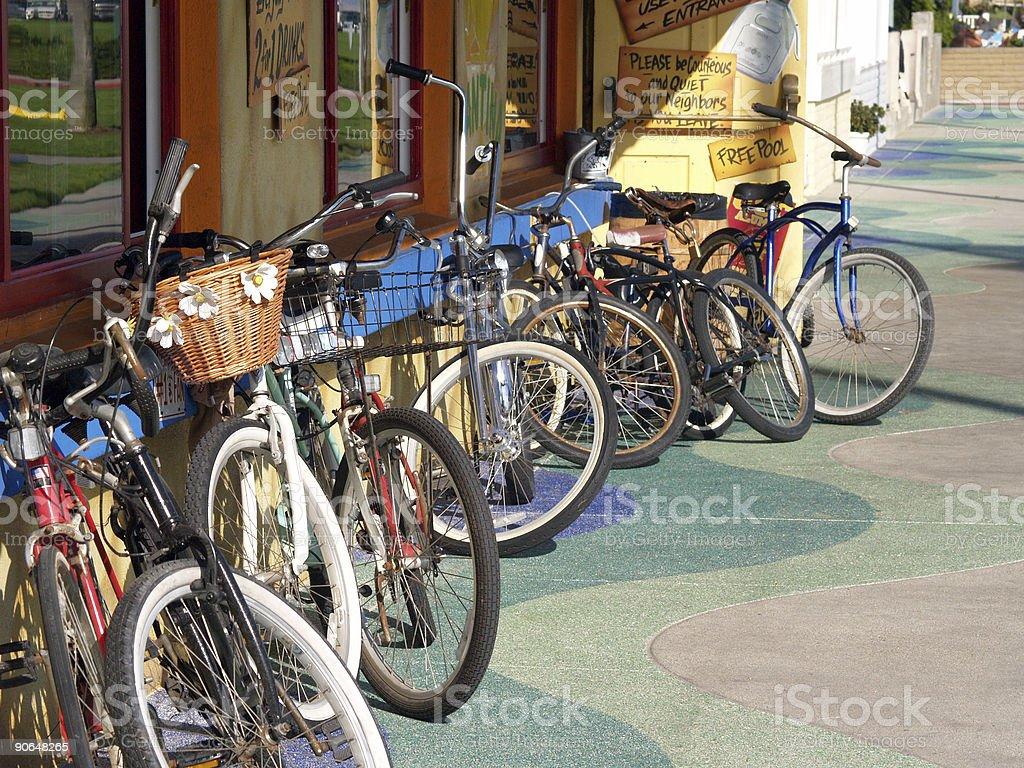 Parked Beach Bikes royalty-free stock photo