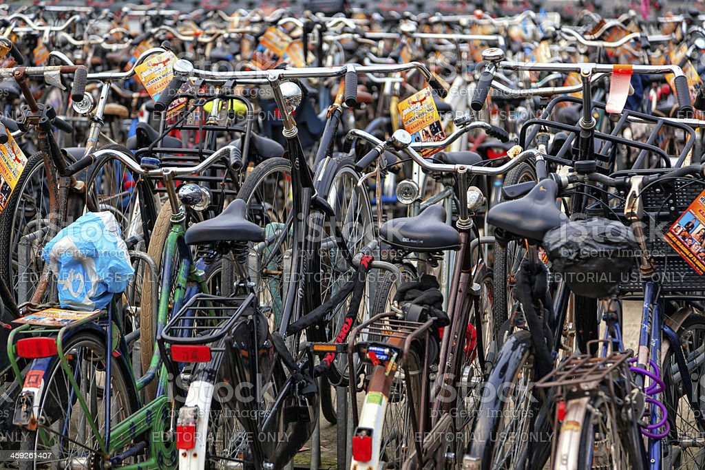 Parked bicycles in Amsterdam city centre royalty-free stock photo