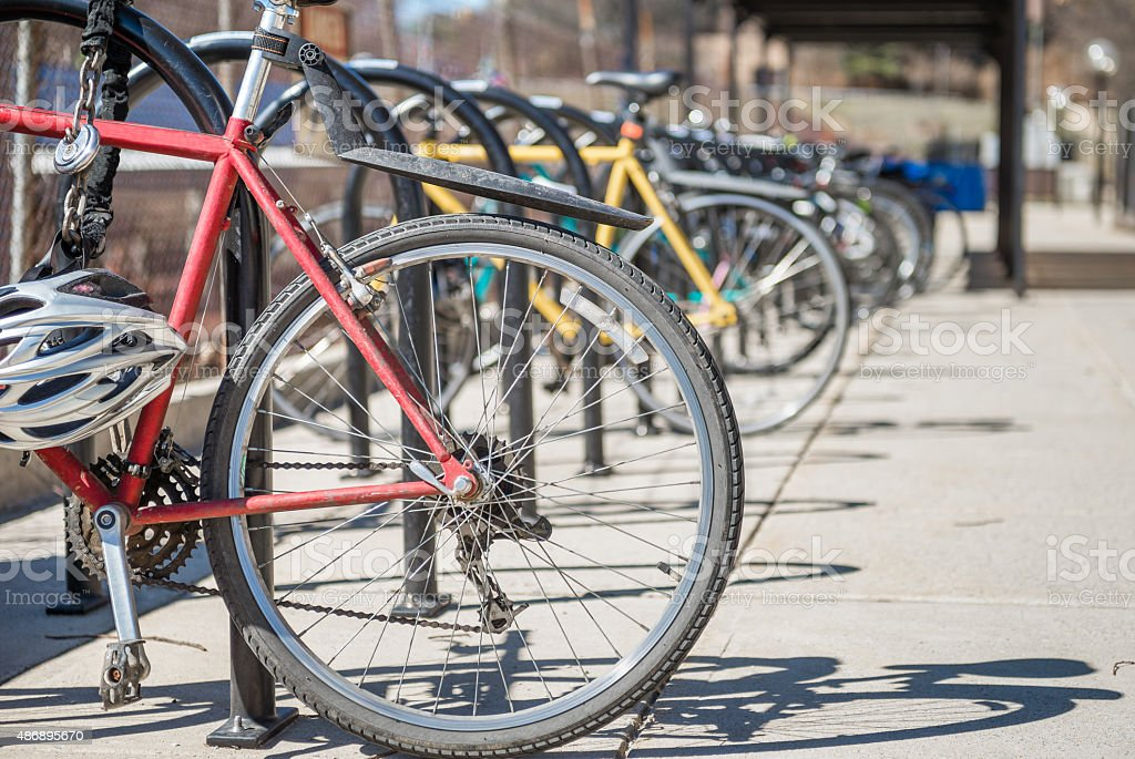 parked bicycles stock photo