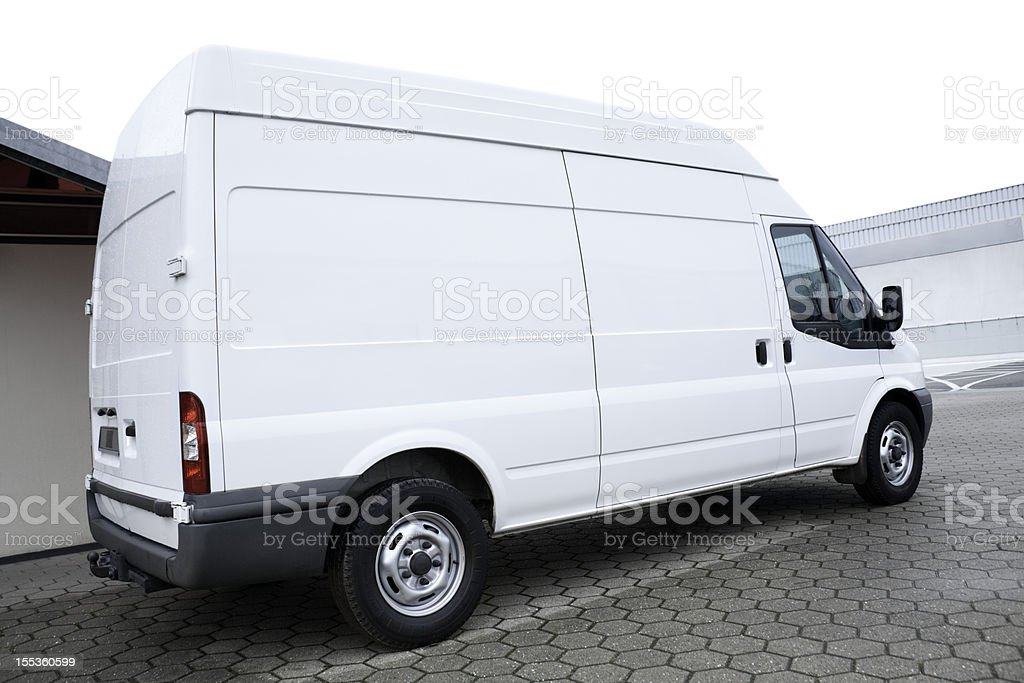 Parked blank white Van stock photo