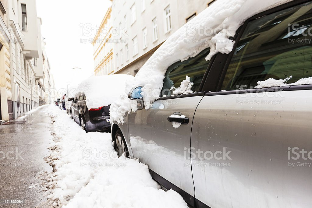 Parked car during winter royalty-free stock photo