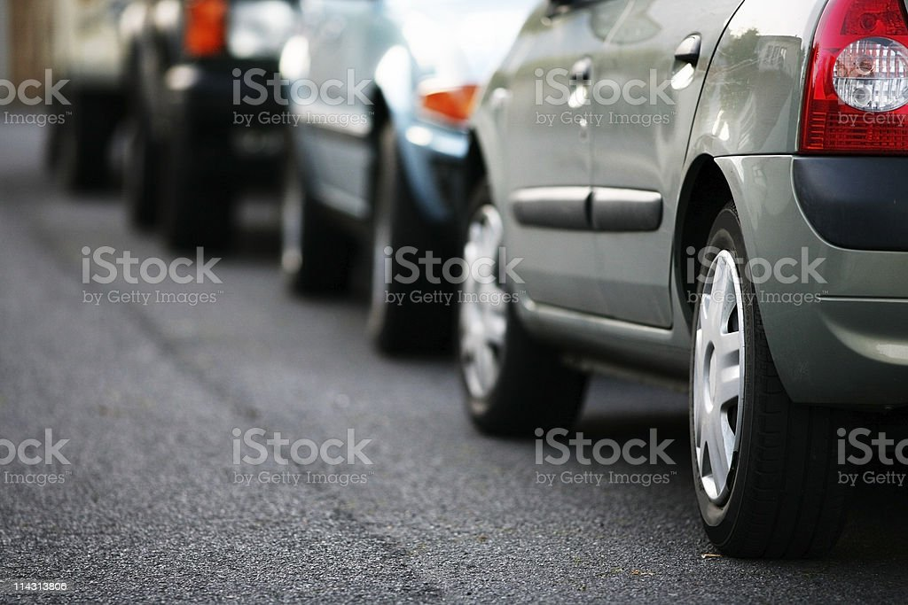 Parked cars stock photo
