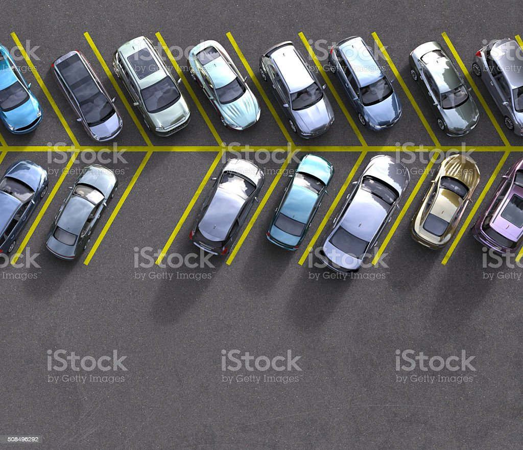 parked cars with one spot free stock photo