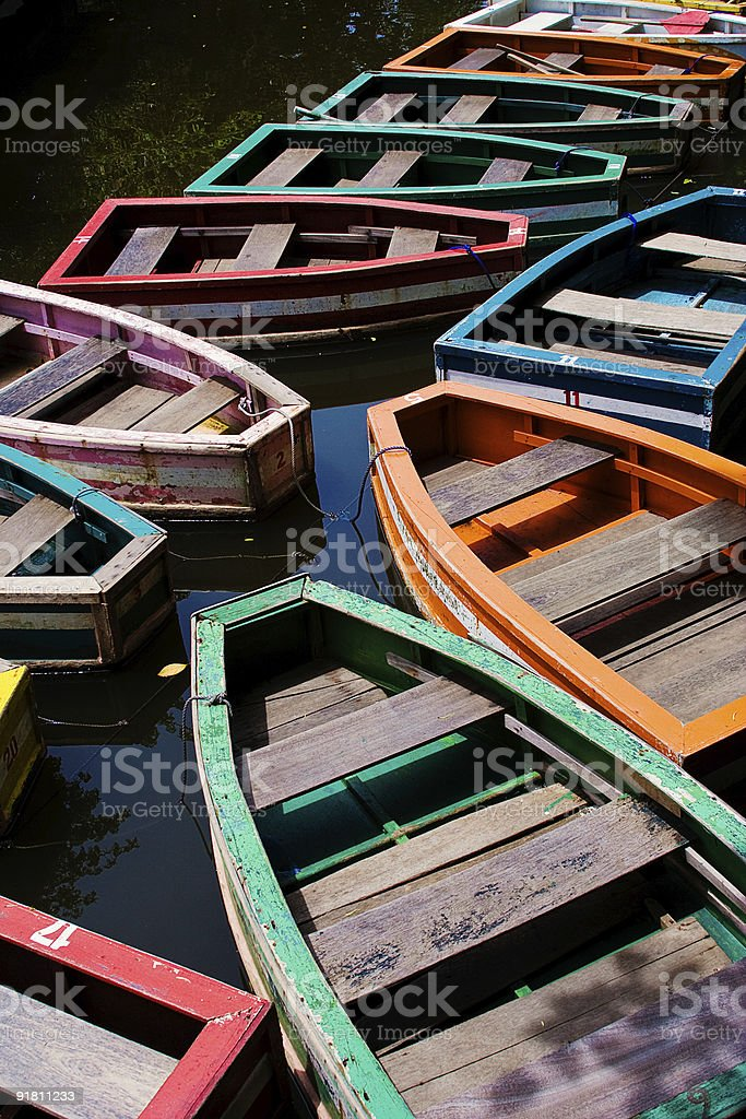 Parked colorful row boats royalty-free stock photo