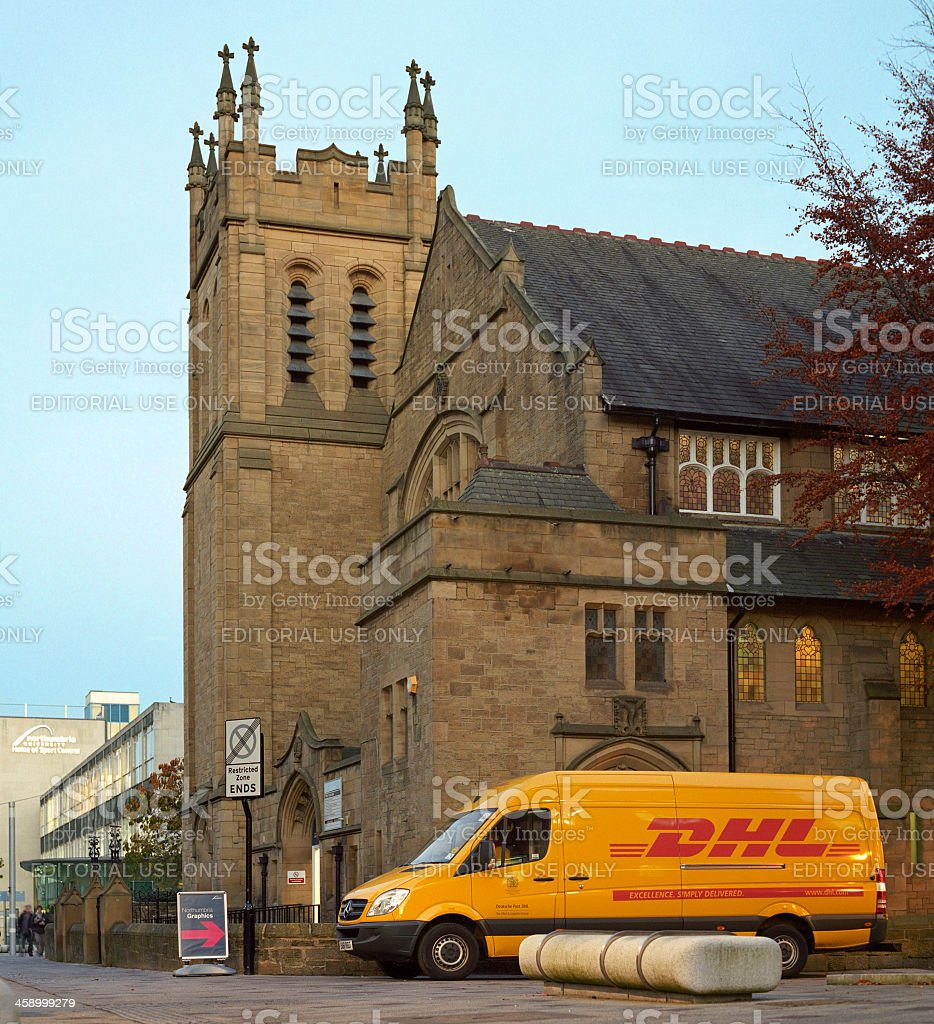 Parked DHL van in Newcastle, England stock photo