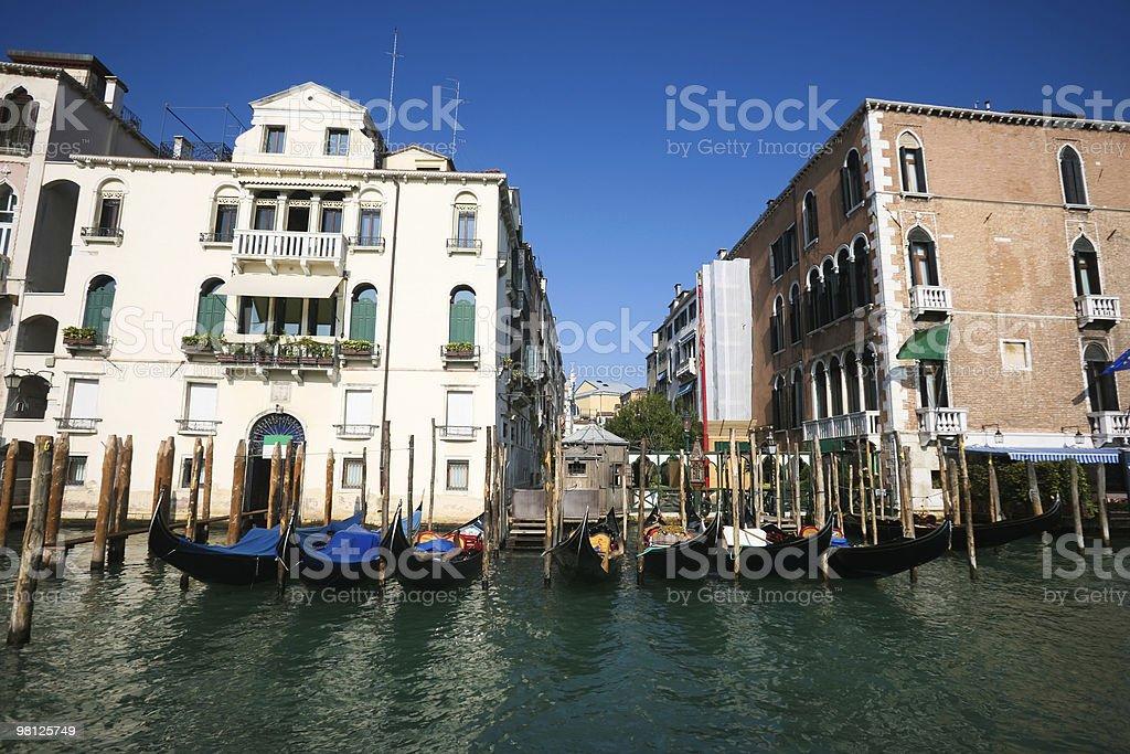 Parked gondolas in Venice royalty-free stock photo