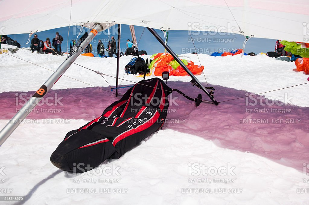 parked hang glider on the launch site stock photo