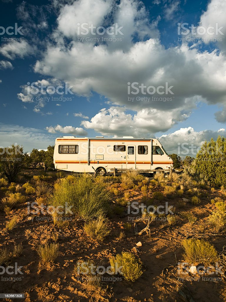 RV parked in the canyon royalty-free stock photo