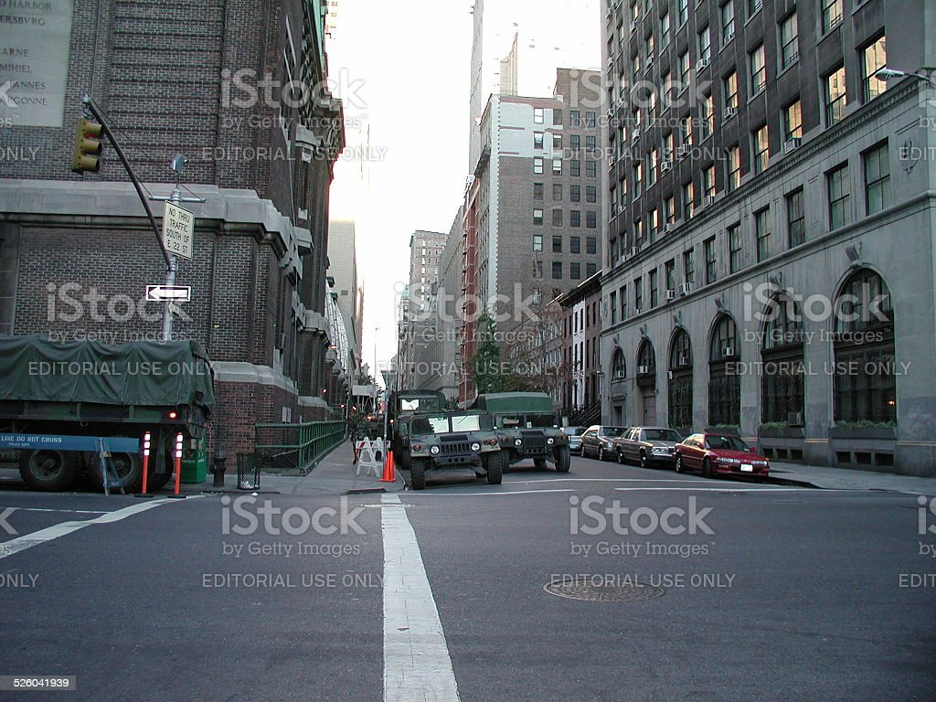 Parked military vehicles by 26th street armory. NYC stock photo