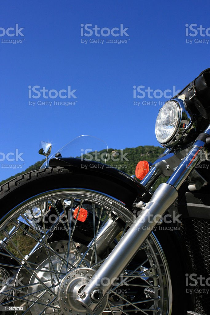 Parked motorcycles royalty-free stock photo