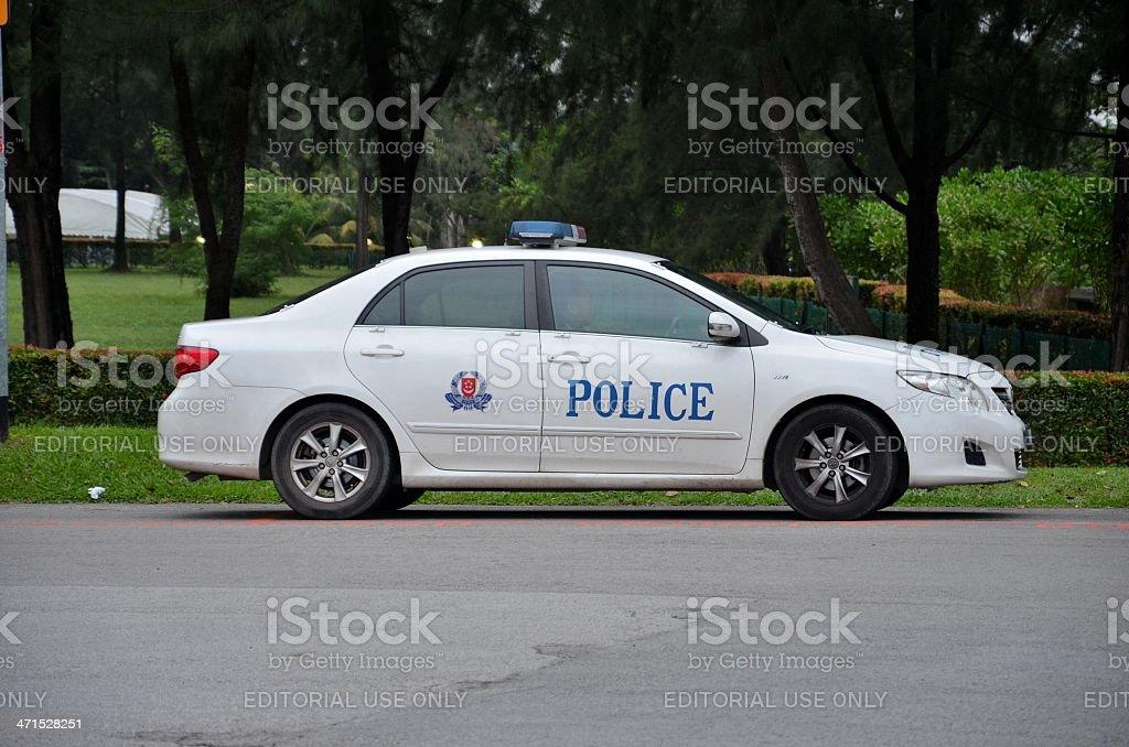 Parked Singapore police patrol car stock photo