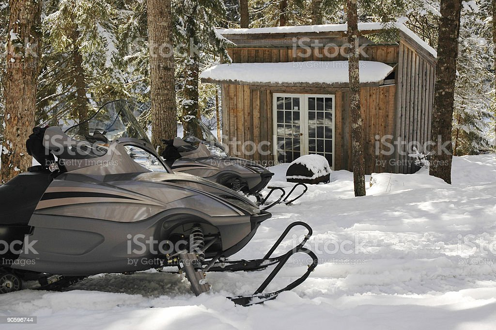 Parked Snowmobiles royalty-free stock photo